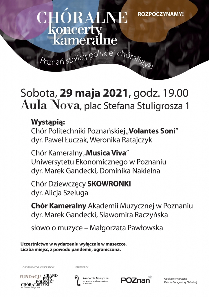 Plakat 29.05.2021 koncert poznańskich chórów
